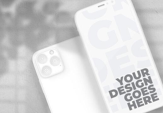 Minimalistic White Clay Smartphone Mockup