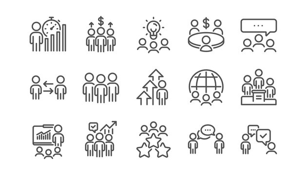 Meeting line icons set. Conference, seminar discussion, classroom. Team, work and business idea icons. Classroom job, people management. Presentation, office meeting, consultation. Linear set. Vector