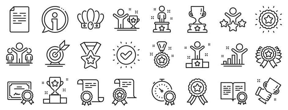 Winner cup, goal target, certificate. Success line icons. Reward, medal with ribbon, crown icons. Award, winner podium, first place success. Statue, diploma with certificate, challenge. Vector