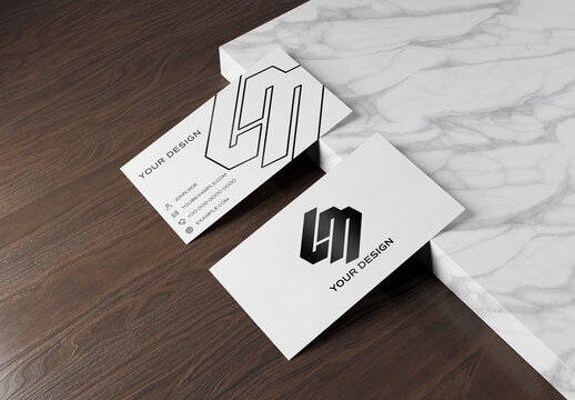 Business Card on Wood and Marble Mockup