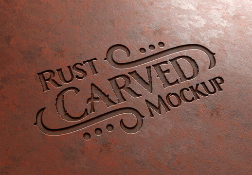 Carved Text Effect in Rusted Metal Mockup
