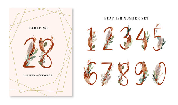 feather and leaves watercolor numbers from 0 to 9 set