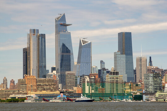 New York, NY / United States - May 25, 2019: closeup landscape view of the Hudson Yards Development seen from the Hudson River.