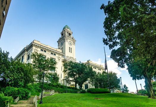 Yonkers, NY / United States - Aug. 10, 2019: A view of  Yonkers historic City Hall.