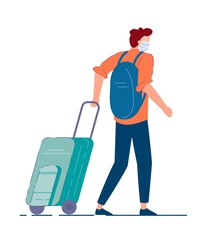 Tourist with luggage. Man tourist in mask carrying backpack, walking and pulling luggage wheel suitcase during coronavirus pandemic. Traveler passenger person cartoon character, tourism concept