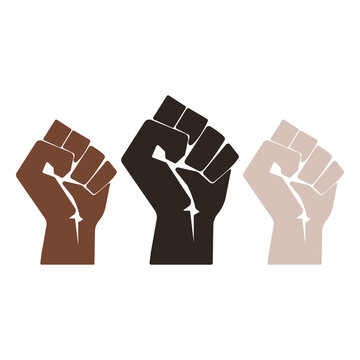 Strong hands with racial colors icon. Vector Illustration