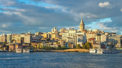 Wall Mural - Istanbul city skyline with view of Galata Tower