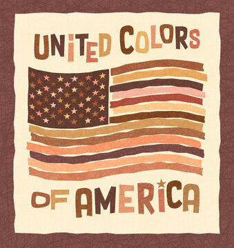 American flag in colors of skin tones includes African, Asian, Indian, Caucasian and Native American races. Banner design for promoting diversity and unity in the USA. Anti-racism poster.