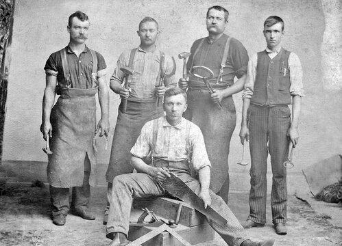 Antique Blacksmith and Carpenter 1885 Photo