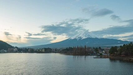 Wall Mural - Kawaguchiko city with view of Mount Fuji in Japan