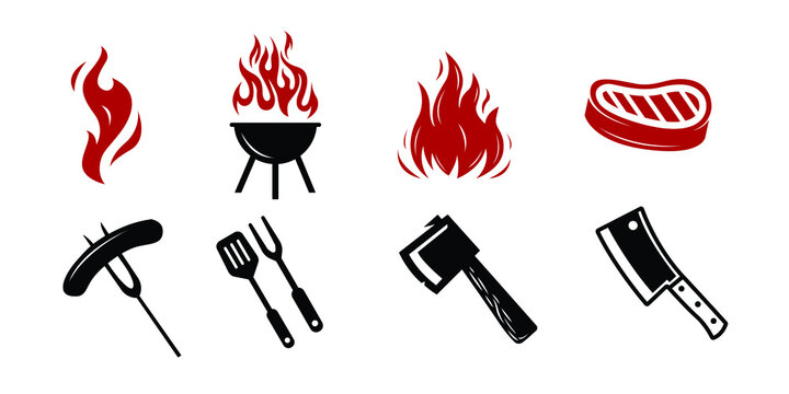 Barbecue restaurant set - Logo icon of Barbecue, Grill and Bar with fire, grill fork and spatula. BBQ logo template. Vector illustration