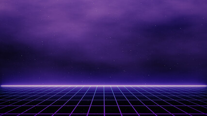 Fototapeten Violett Retro cyberpunk style 80s Sci-Fi Background Futuristic with laser grid landscape. Digital cyber surface style of the 1980`s. 3D illustration