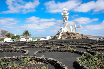 Lanzarote, Spain - September 18, 2018 : House-Museum of the Farmer and the Monument to Fertility (Campesino y Monumento a la Fecundidad in spanish language)