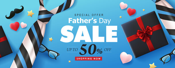 Happy Fathers Day Sale 50% off banner background.Promotion and shopping template.Vector illustration.