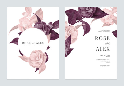 Floral wedding invitation card template design, Semi-double Camellia flowers with leaves in purple and pink tones