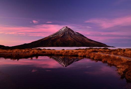 Mt. Taranaki reflection in Pouakai Pool, New Zealand