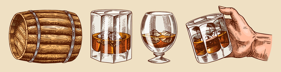 Vintage Whiskey set. Wooden barrel, scotch and bourbon, wheat and rye, Glass bottle, Victorian man, cheers toast. Strong Alcohol drink. Hand drawn engraved sketch for poster, badge. American symbols.