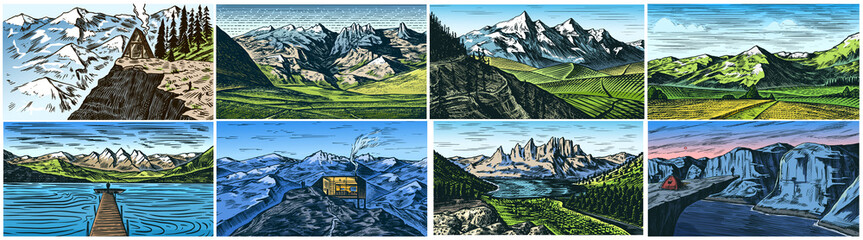 Mountain landscape backgrounds set. Alpine peaks and Traveler with a tent. Vintage Mount. Travel concept. Hand drawn engraved sketch for outdoor posters, climbing banners, logo or badge.