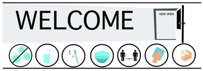 door  and welcome message. Now open for service.  icon Virus Thermometer, sanitizer,   face mask ,social distancing Hands that are using soap to wash hands