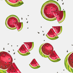 Summer seamless pattern with watermelon.