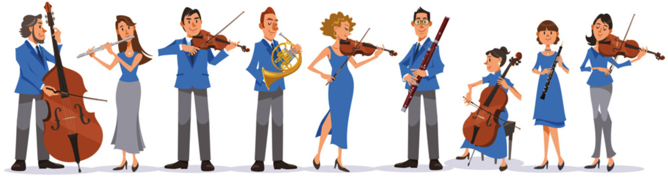 Collection of musicians on white background. Performing with violin, viola, cello, contrabass, flute, french horn, bassoon, and oboe. Vector illustration in flat cartoon style.