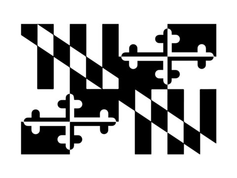 Maryland MD State Flag. United States of America. Black and white EPS Vector File.