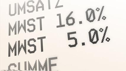 ngb8 NewGraphicBanner ngb - german: Kaufbeleg, Kassenbon, Mehrwertsteuer, Mehrwertsteuersatz von 19 % auf 16 Prozent und von 7 auf 5 % gesenkt - Quittung. - financial / invoice - print. deutsch g9715 Fotomurales