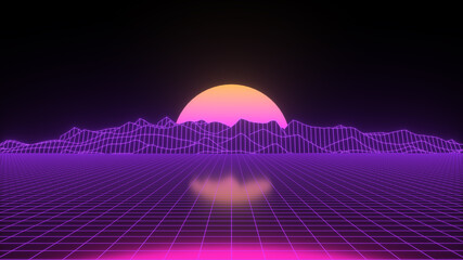 Retro background futuristic landscape 1980s style. 3D rendering Digital retro neon landscape cyber background.