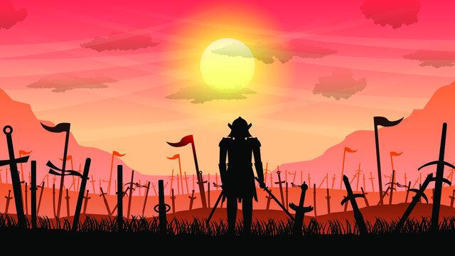 Ninja Samurai With Sword On Battlefield Orange Background Vector
