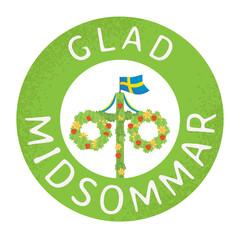 Midsummer flower wreath with Swedish flag. Pole after celebrating midsummer. Midsummer traditional Swedish symbol. Kort Glad Midsommar.