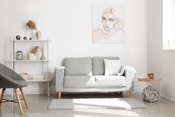 Wall Mural - Interior of modern room with shelf unit