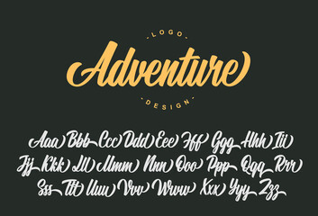 Adventure script font design. Vector alphabet.