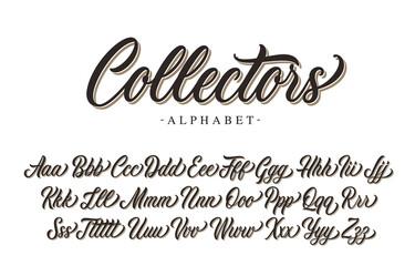 Collectors premium script font design. Vector alphabet.