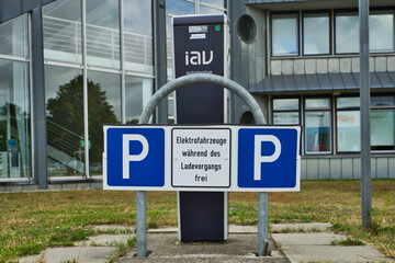 Charging station of an electric filling station for electric cars in the parking lot of the IAV Company, an automotive company in Gifhorn, Germany, July 7., 2019