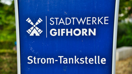 Detail view of an electric filling station for electric cars with the indication of the operator Stadtwerke Gifhorn (municipal utilities) in Gifhorn, Germany, July 7., 2019