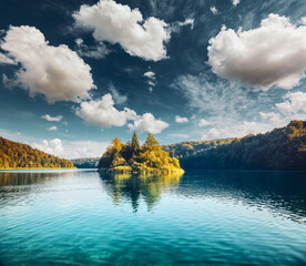 Wall Mural - Peaceful view on calm lake with turquoise water on a sunny day. Plitvice Lakes National Park, Croatia.