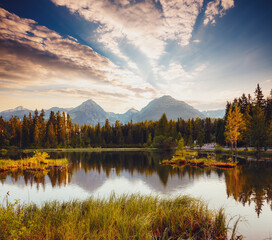 Wall Mural - Calm lake in National Park High Tatra. Location place of Strbske pleso, Slovakia, Europe.