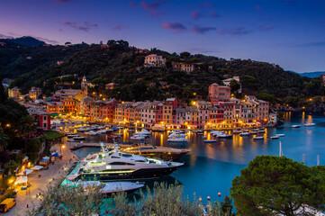 Canvas Prints Turkey Twilight view over Portofino, Liguria, Italy