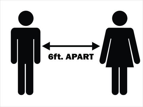 6 ft. Apart Man Woman Stick Figure. Pictogram Illustration Depicting Social Distancing during Pandemic Covid19. Vector File