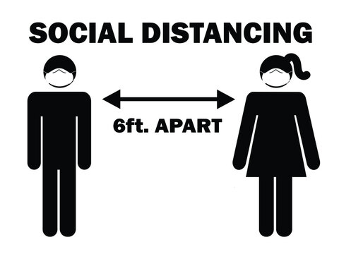 Social Distancing 6 ft. Apart Man Woman Stick Figure with facial mask. Pictogram Illustration Depicting Social Distancing during Pandemic Covid19 with PPE Face Covering. Vector