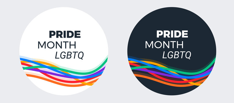 LGBTQ Pride month design for social media - typography text Pride Month LGBTQ on abstract modern colorful rainbow stripes background - vector design