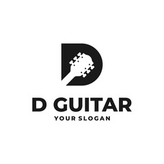guitar design logo with the symbol letter D