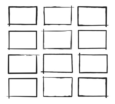 Set of grunge horizontal frames. Hand drawn style. Vector illustration.