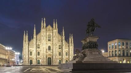 Wall Mural - Duomo of Milan night to day time lapse in Milan, Italy