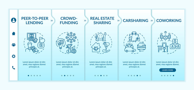 Sharing economy onboarding vector template. Carsharing, crowdfunding and real estate sharing services. Responsive mobile website with icons. Webpage walkthrough step screens. RGB color concept