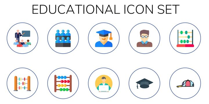 Modern Simple Set of educational Vector flat Icons