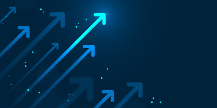 Up arrows on blue background illustration copy space business growth concept
