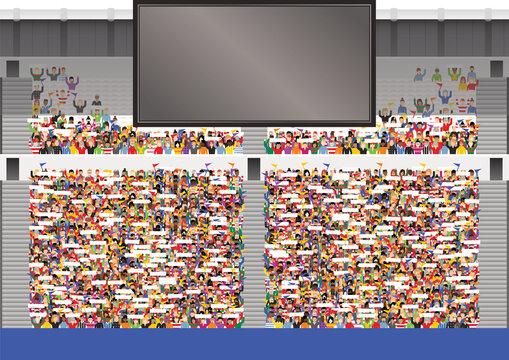 Large crowd in stadium grandstand