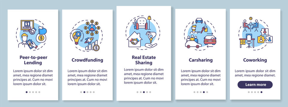 Sharing economy onboarding mobile app page screen with concepts. Collaborative business models walkthrough five steps graphic instructions. UI vector template with RGB color illustrations