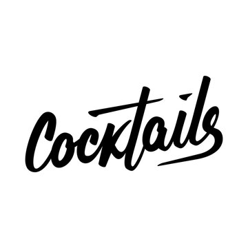 Typography calligraphy wedding sign text vector cocktails illustration